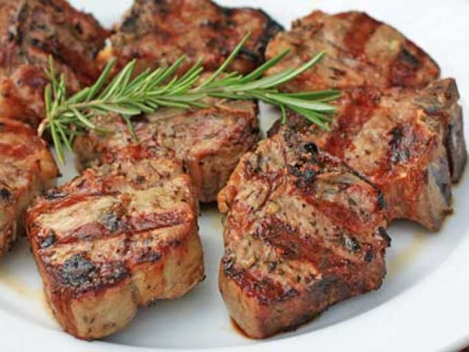 Rosemary lamb chops with grill roasted potatoes