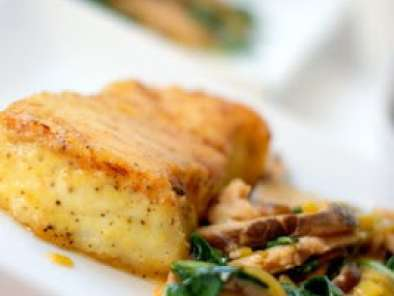 Recipe Pan seared chilean sea bass with shiitakes and leeks