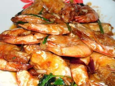 Recipe Pan fry prawns with oyster sauce