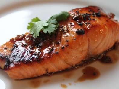 Recipe Honey-soy broiled salmon ~ the genetically altered salmon debate