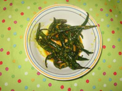 Recipe Mustard flavored green chilly / raiwala marcha