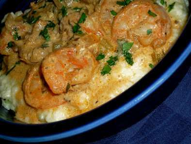 Recipe Southern comfort: creamy cheddar grits with shrimp...