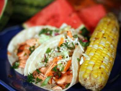 Recipe Sweet n' spicy grilled salmon fish tacos