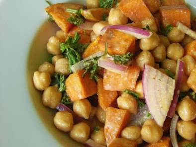 Recipe Warm sweet potato and chickpea salad with tahini goddess dressing