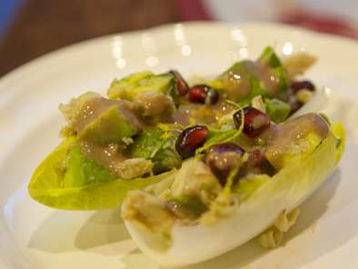 Recipe Endive boats with avocado, pomegranate, & crab salad gluten