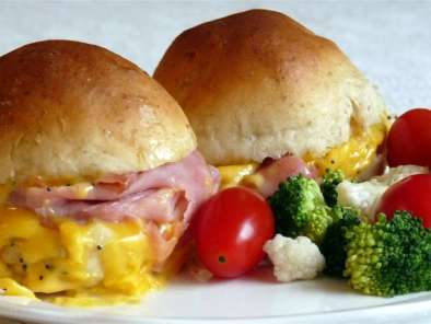Recipe Hot ham and cheese sandwiches with onion butter