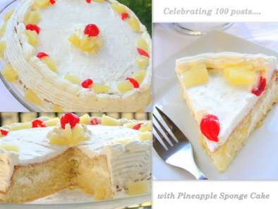 Recipe Celebrating 100 posts with pineapple sponge cake!