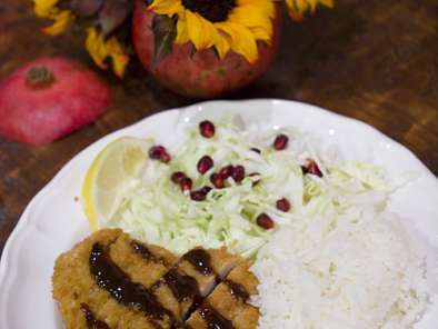Recipe Tonkatsu (breaded pork cutlet) with a pomegranate molasses tonkatsu sauce