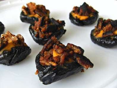 Recipe Hickory cheese stuffed prunes with crumbled tempeh bacon and winner!