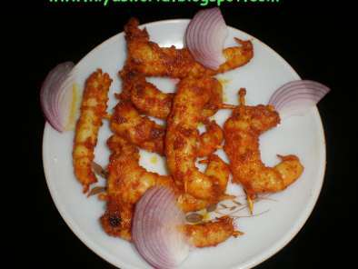 Recipe Tawa grilled prawns / spicy stir fried grilled prawns