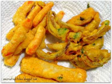 Recipe Carrot, onion, potato = pakora sticks