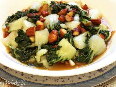 Recipe Stir fry baby bok choy with almond - an appropriate side dish for chinese new year