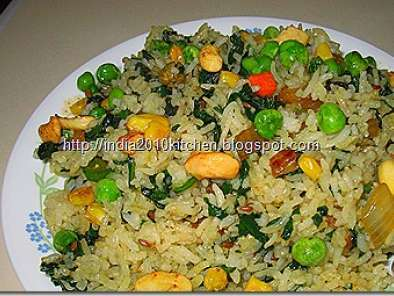 Recipe Corn and palak rice/pulao