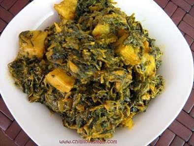 Recipe Aloo methi and spinach subzi/potato fenugreek greens and spinach