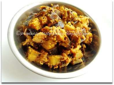 Recipe Brinjal semi dry curry/kathirikai poriyal