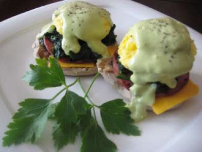 Recipe Paula deen's lean: eggs benedict with hollandaise