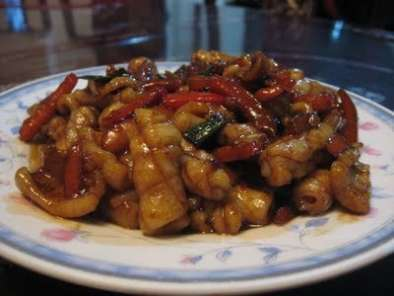 Recipe Squid and red bell pepper stir-fry