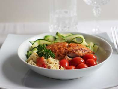 Recipe Pan-fried pollock with zucchini and tomatoes
