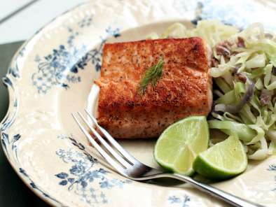 Recipe Salmon fillet and cabbage with bacon