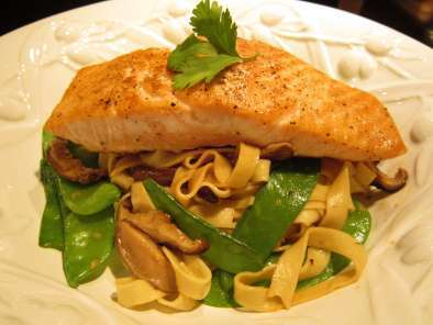 Recipe Seared salmon with shiitake and snow pea lo mein