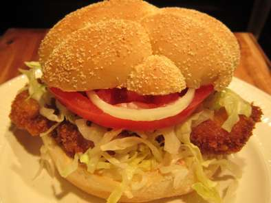 Recipe Pork schnitzel sandwich with hot chili mayo