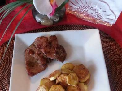Pork chop with sauteed zucchini