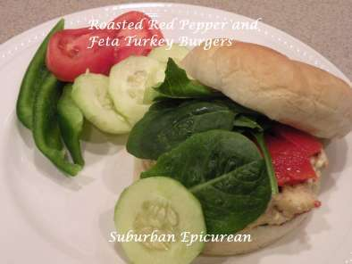 Recipe Roasted red pepper and feta turkey burgers