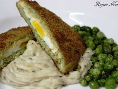 Egg & cheese stuffed chicken steak