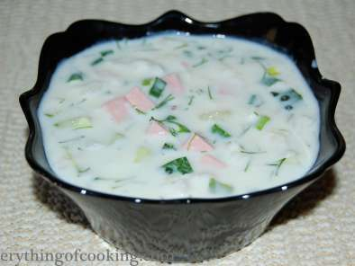 "Recipe Russian cold soup ""okroshka"""