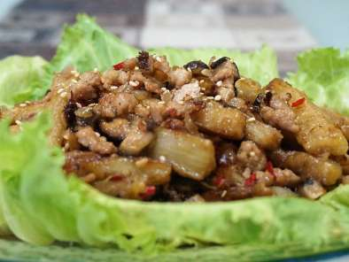 Recipe Spicy brinjal fries with minced pork