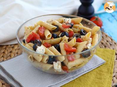 Recipe Pasta salad, with tomato, feta cheese and olives