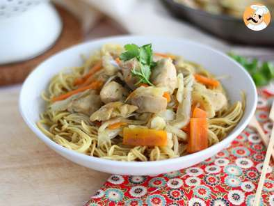 Recipe Stir fry with chicken and coriander, chao men