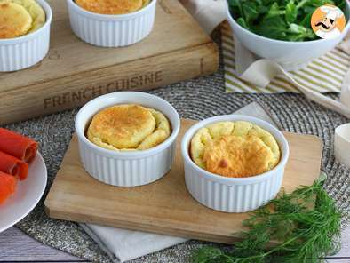 Smoked salmon and cream cheese soufflés