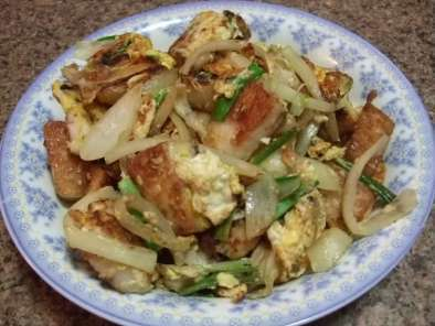 Recipe Fried rice cakes with eggs (banh bot chien)