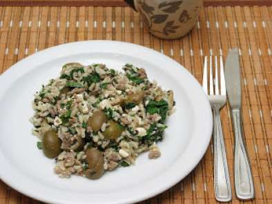 Recipe Lamb rice with mint, feta and spinach