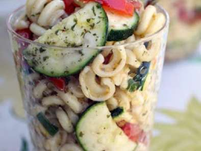 Recipe Cold tomato zucchini pasta salad with sherry shallot vinaigrette