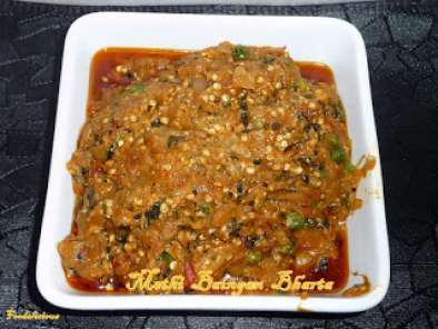 Recipe Methi baingan bharta ( roasted egg plant )