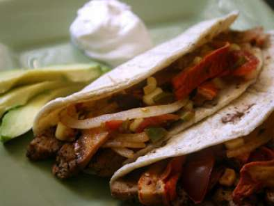 Recipe Vegan steak tacos with grilled lobster mushroom, heirloom cherry tomato and corn salsa
