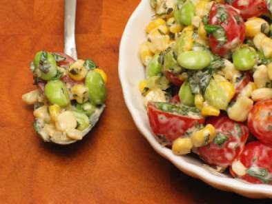 Recipe Toasted corn, cherry tomato and edamame salad