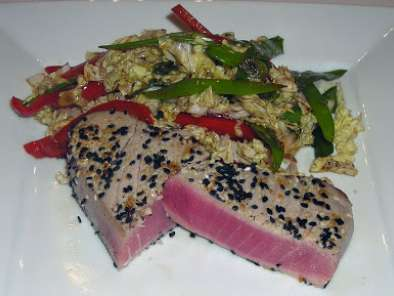 Recipe Seared tuna steaks with asian coleslaw and wasabi aioli dipping sauce