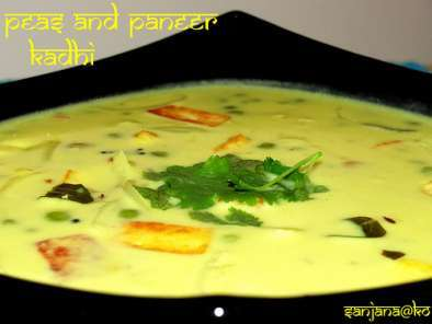 Recipe Peas and paneer kadhi (indian yogurt soup)