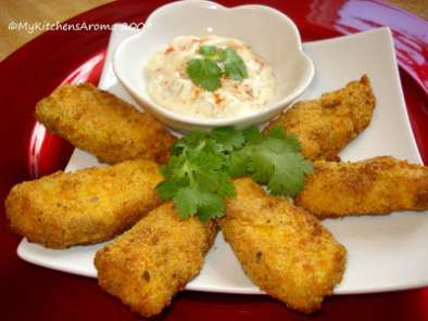 Recipe fusion cuisine - tandoori spiced baked salmon fish sticks with parmesan crust