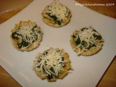 Recipe appetizers - spinach-artichoke phyllo cups