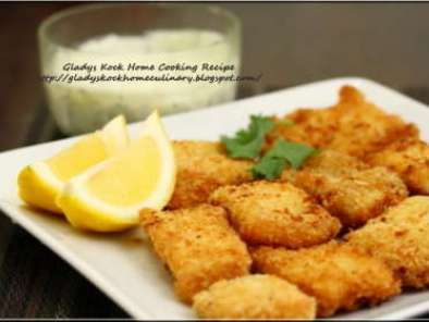 Recipe Deep-fry fish fillets in breadcrumb with basil ≤mon mayonnaise