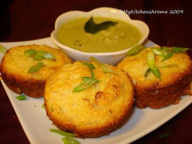 Recipe Savory 'black gram/urad dal' muffins with spring onions/ baked 'medu vadas'/appe