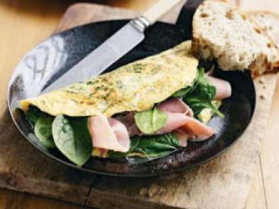 Recipe Christmas ham and spinach omelette