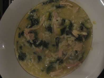 Recipe Chicken spinach soup with rice and lemon (without a book)