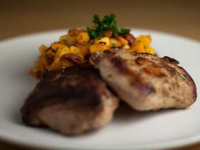 Recipe Recipe - wild boar steaks with potato, parsnip and chorizo hash