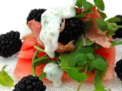 Recipe Watermelon carpaccio with pastrami, black berries and a light yogurt and mint dressing
