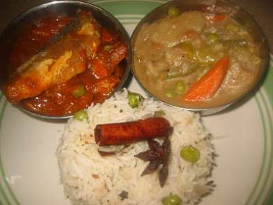 Recipe Ghee rice with white kurma and sardine curry